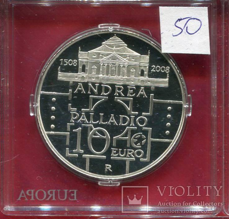 Италия 10 евро 2008 ПРУФ Palladio, фото №3