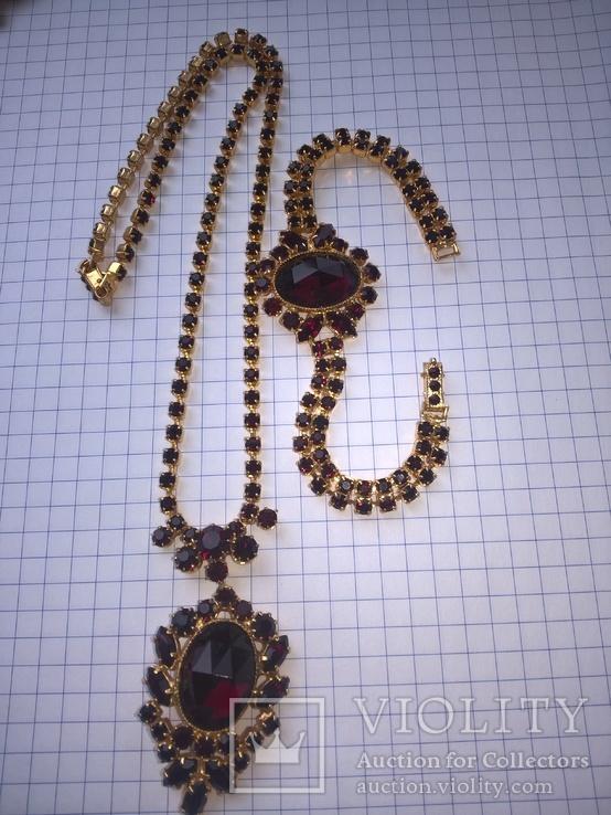 Винтажный гарнитур (колье и браслет), рубиновое стекло ЧССР, фото №3