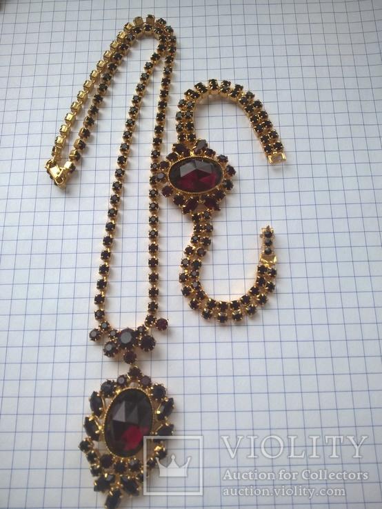 Винтажный гарнитур (колье и браслет), рубиновое стекло ЧССР