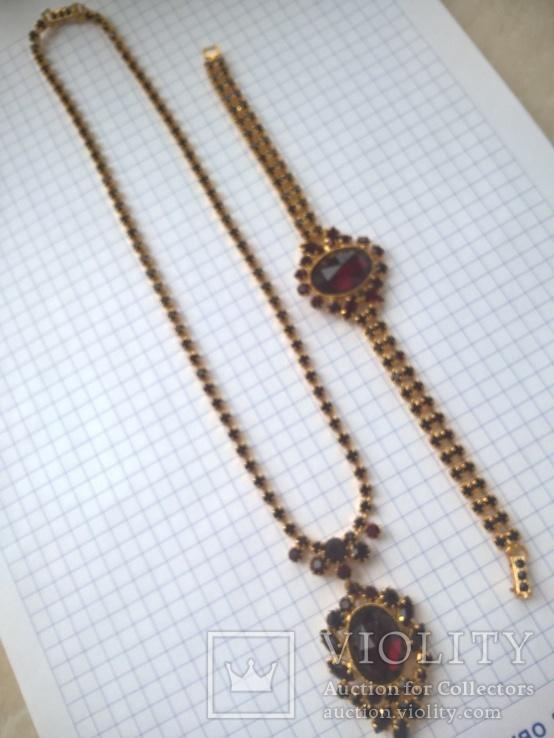 Винтажный гарнитур (колье и браслет), рубиновое стекло ЧССР, фото №8
