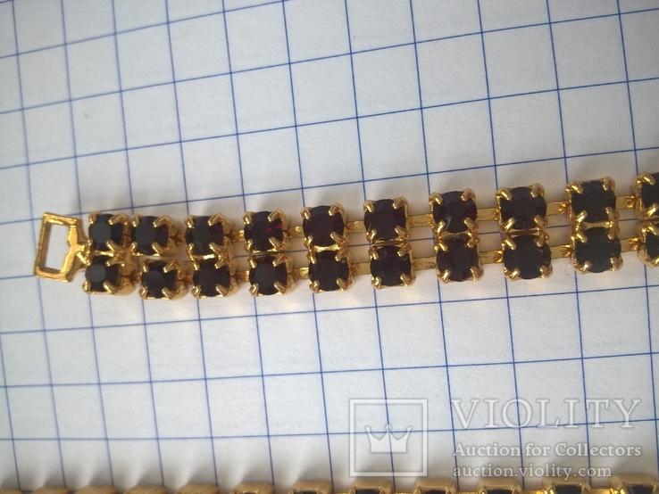 Винтажный гарнитур (колье и браслет), рубиновое стекло ЧССР, фото №10