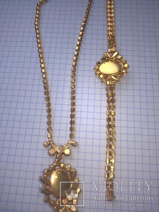 Винтажный гарнитур (колье и браслет), рубиновое стекло ЧССР, фото №13