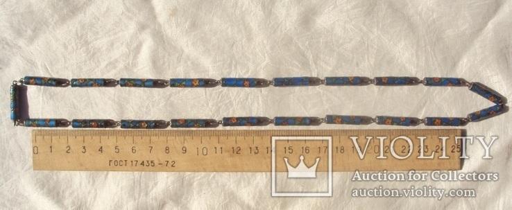 Бусы серебро, перегородчатая эмаль (клуазоне)., фото №12