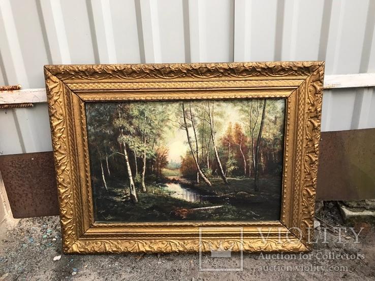 Большая старинная картина «Лесной пейзаж»