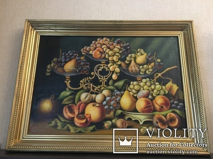 Картина Натюрморт Масло на Матрасной Ткани