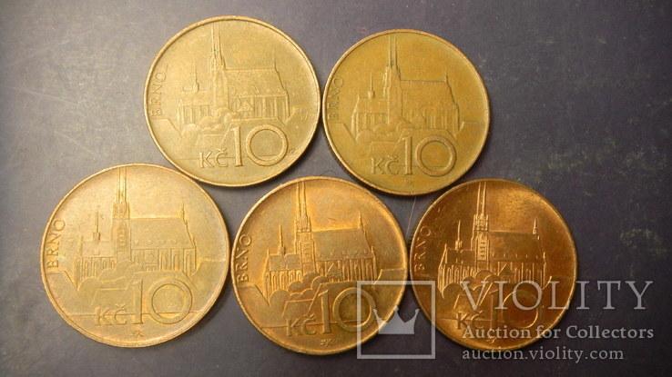 10 крон Чехія (порічниця) 5шт, всі різні, фото №2