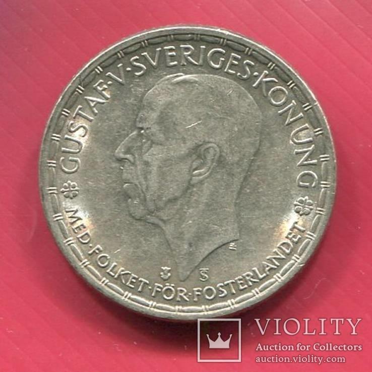 Швеция 2 кроны 1947 aUNC серебро Густав V, фото №3