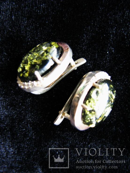 Серьги, серебро, позолота, зеленый янтарь, фианиты, фото №3