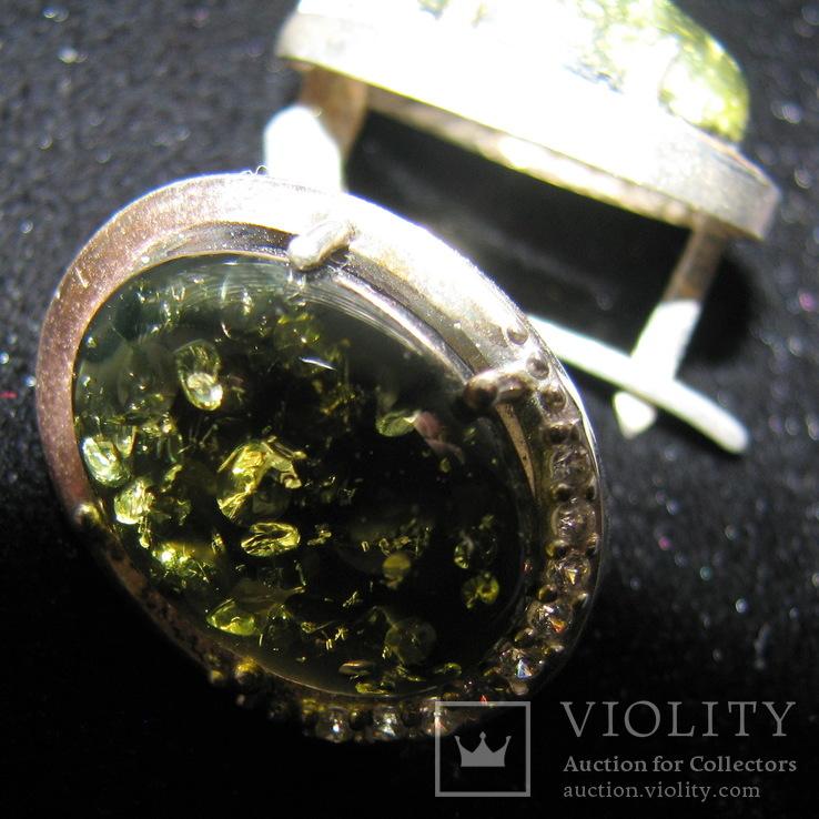 Серьги, серебро, позолота, зеленый янтарь, фианиты, фото №4