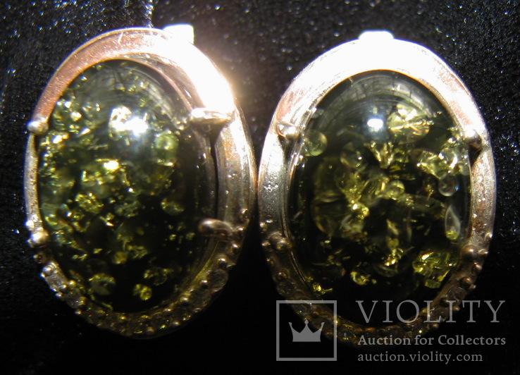 Серьги, серебро, позолота, зеленый янтарь, фианиты, фото №5