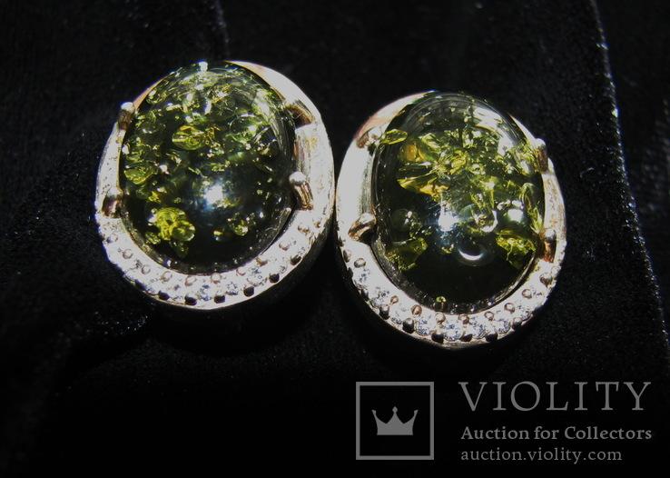Серьги, серебро, позолота, зеленый янтарь, фианиты, фото №6