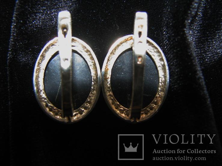 Серьги, серебро, позолота, зеленый янтарь, фианиты, фото №8