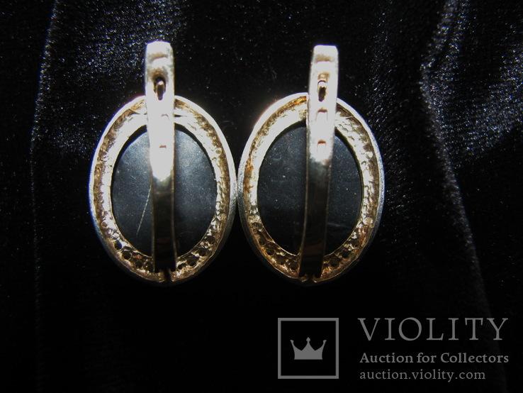 Серьги, серебро, позолота, зеленый янтарь, фианиты, фото №9