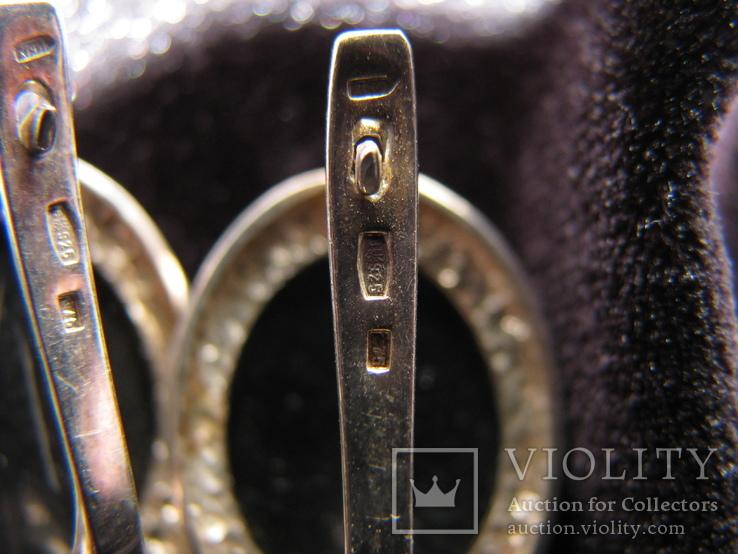 Серьги, серебро, позолота, зеленый янтарь, фианиты, фото №10