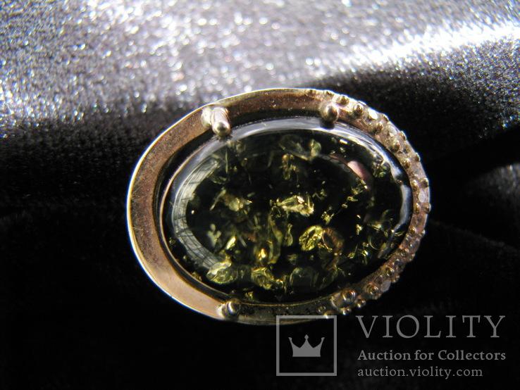 Серьги, серебро, позолота, зеленый янтарь, фианиты, фото №12
