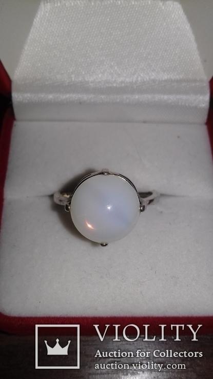 Серьги и кольцо с лунным камнем, фото №4