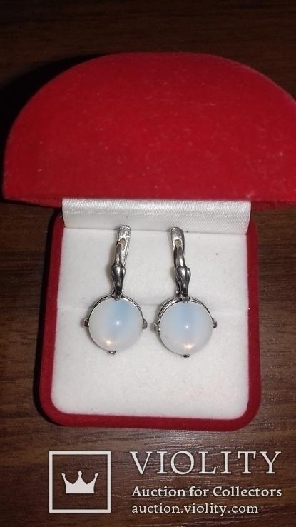 Серьги и кольцо с лунным камнем, фото №6