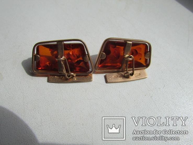 Запонки с зажимом для галстука золото 583 проба янтарь СССР 17.2 гр, фото №3