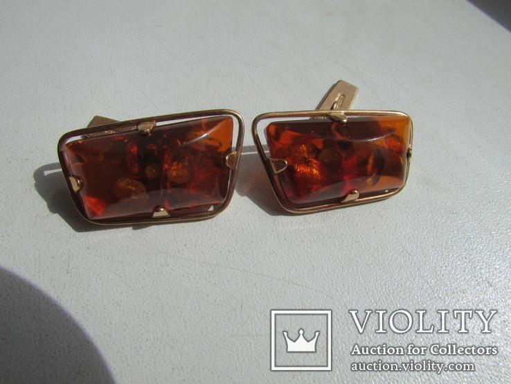 Запонки с зажимом для галстука золото 583 проба янтарь СССР 17.2 гр, фото №4