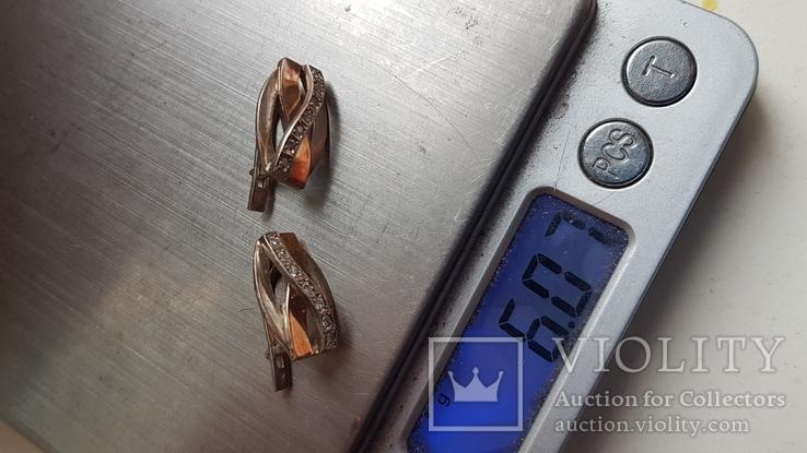 Современные серьги. Серебро 925 проба. Вес 6 г, фото №6