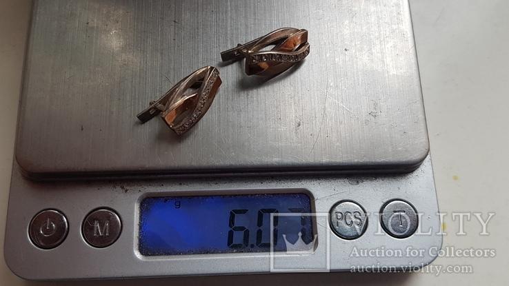 Современные серьги. Серебро 925 проба. Вес 6 г, фото №7