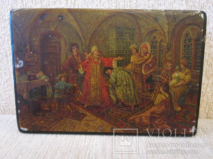 Шкатулка дореволюционная из под чая Салки в палатах, фото №3