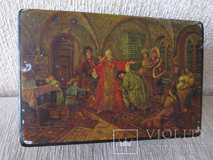 Шкатулка дореволюционная из под чая Салки в палатах, фото №2