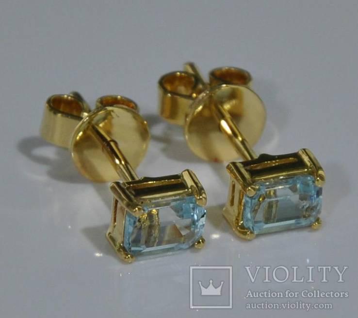 Золотые серьги с натуральными аквамаринами, фото №2