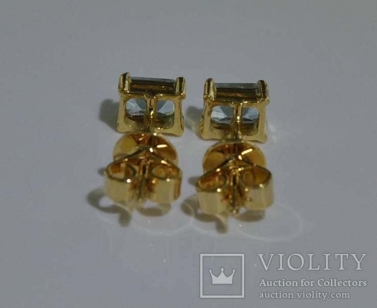 Золотые серьги с натуральными аквамаринами, фото №3