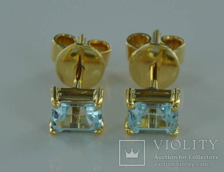 Золотые серьги с натуральными аквамаринами, фото №4