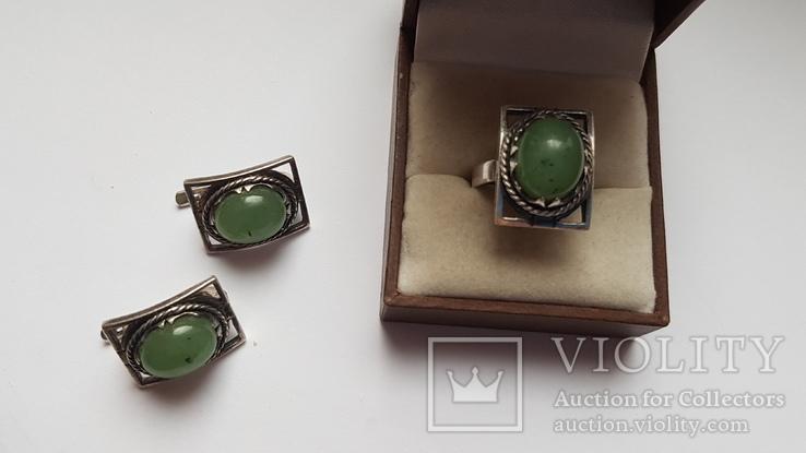 Набор серьги + кольцо. Размер Серебро 925 проба. Зеленый камень., фото №2
