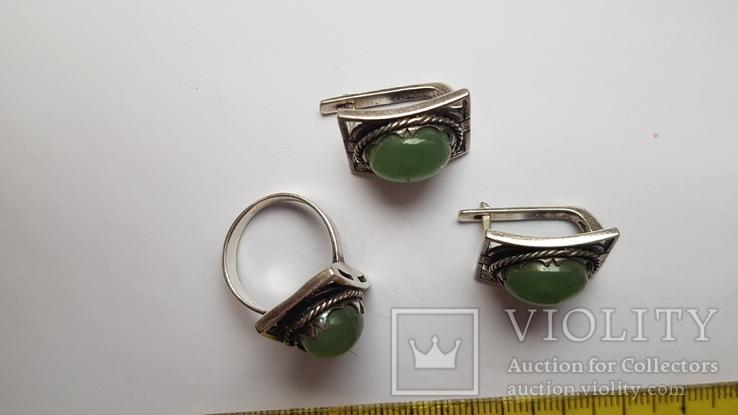 Набор серьги + кольцо. Размер Серебро 925 проба. Зеленый камень., фото №3