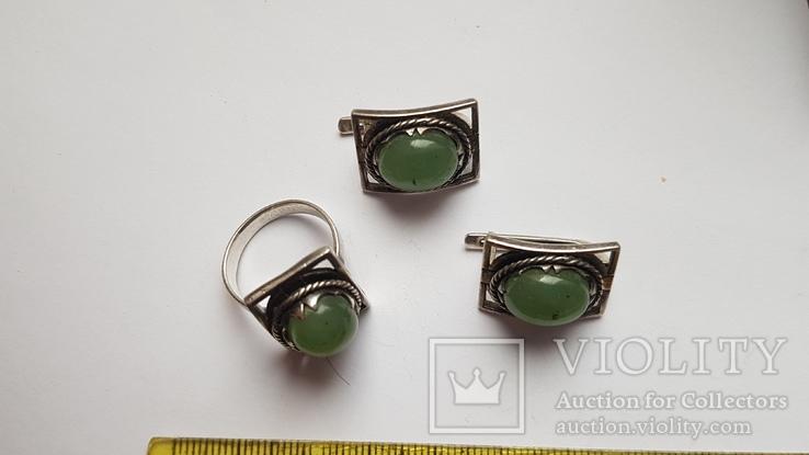 Набор серьги + кольцо. Размер Серебро 925 проба. Зеленый камень., фото №4