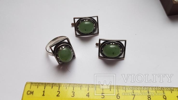 Набор серьги + кольцо. Размер Серебро 925 проба. Зеленый камень., фото №5