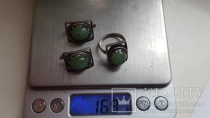 Набор серьги + кольцо. Размер Серебро 925 проба. Зеленый камень., фото №6