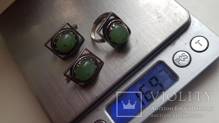 Набор серьги + кольцо. Размер Серебро 925 проба. Зеленый камень., фото №7