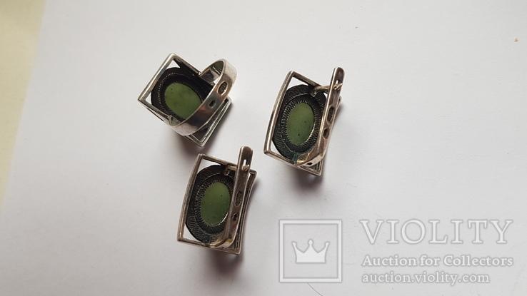 Набор серьги + кольцо. Размер Серебро 925 проба. Зеленый камень., фото №9