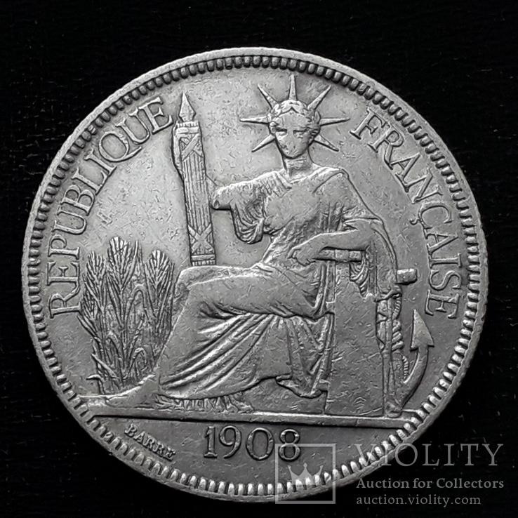 1 пиастр, Французский Индокитай, 1908 год, серебро 900-й пробы, 27 грамм