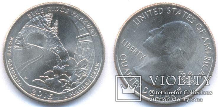 25 центов 2015 Автомагистраль Блу-Ридж Северная Каролина Р