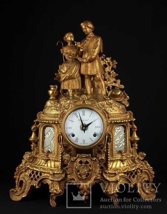 Итальянские каминные часы Imperial. Бронза. 7,7 кг. Высота 450 мм. Механизм FHS.