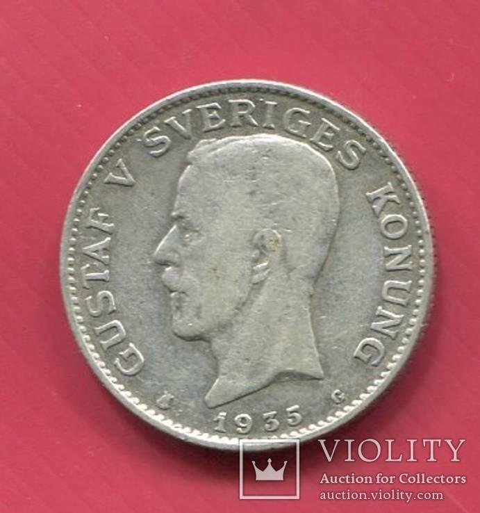 Швеция 1 крона 1935 Густав V, фото №2