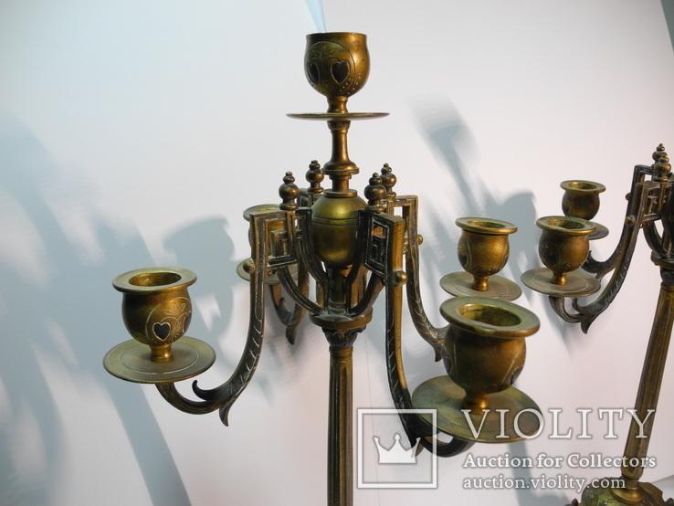 Старинные бронзовые подсвечники канделябры ( Модерн ), фото №4