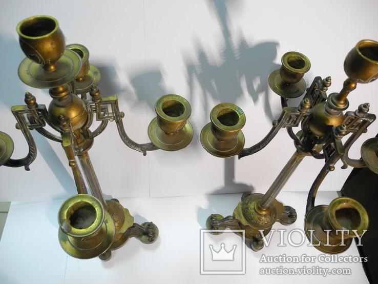 Старинные бронзовые подсвечники канделябры ( Модерн ), фото №9