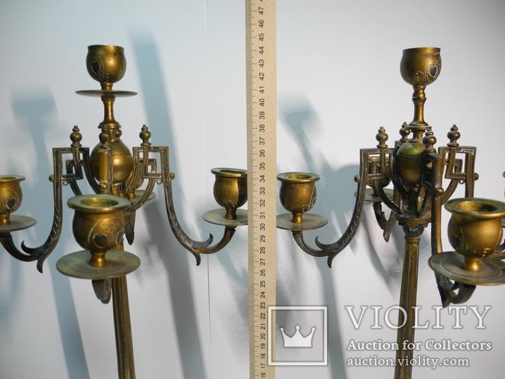 Старинные бронзовые подсвечники канделябры ( Модерн ), фото №10