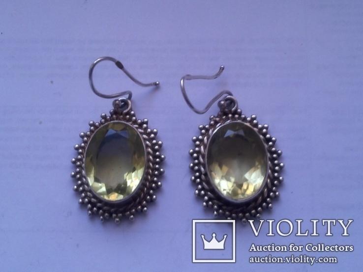 Серьги из серебра с большим жёлтым камнем, фото №2