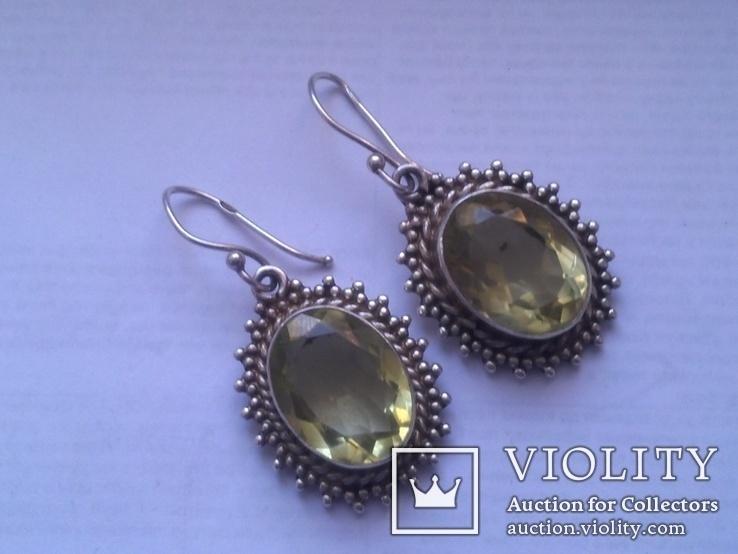 Серьги из серебра с большим жёлтым камнем, фото №3