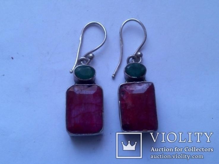 Серьги из серебра с рубином и изумрудом, фото №4