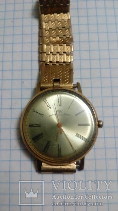 Часы позолоченные луч тонкие au-20 с браслетом, рабочие