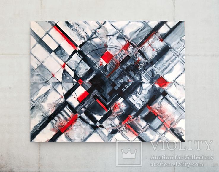 Акварельная абстракция Красний-Черный, big size из модулей, (150х100 см) Ю. Смаль