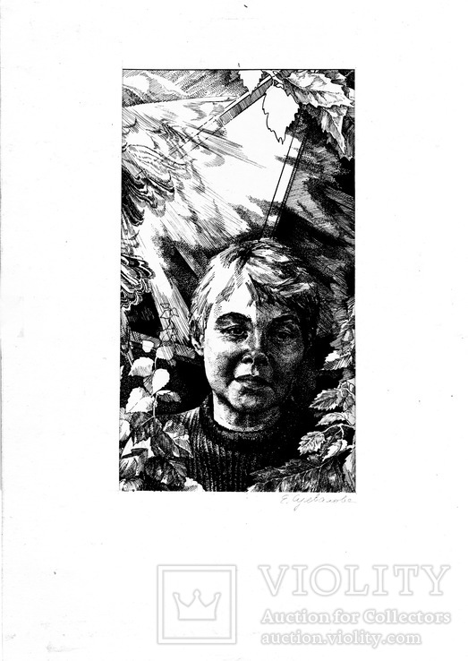 Суевалова Е. - Портрет Г. Левицкой, тушь перо, 10,5x18,5 1975г.